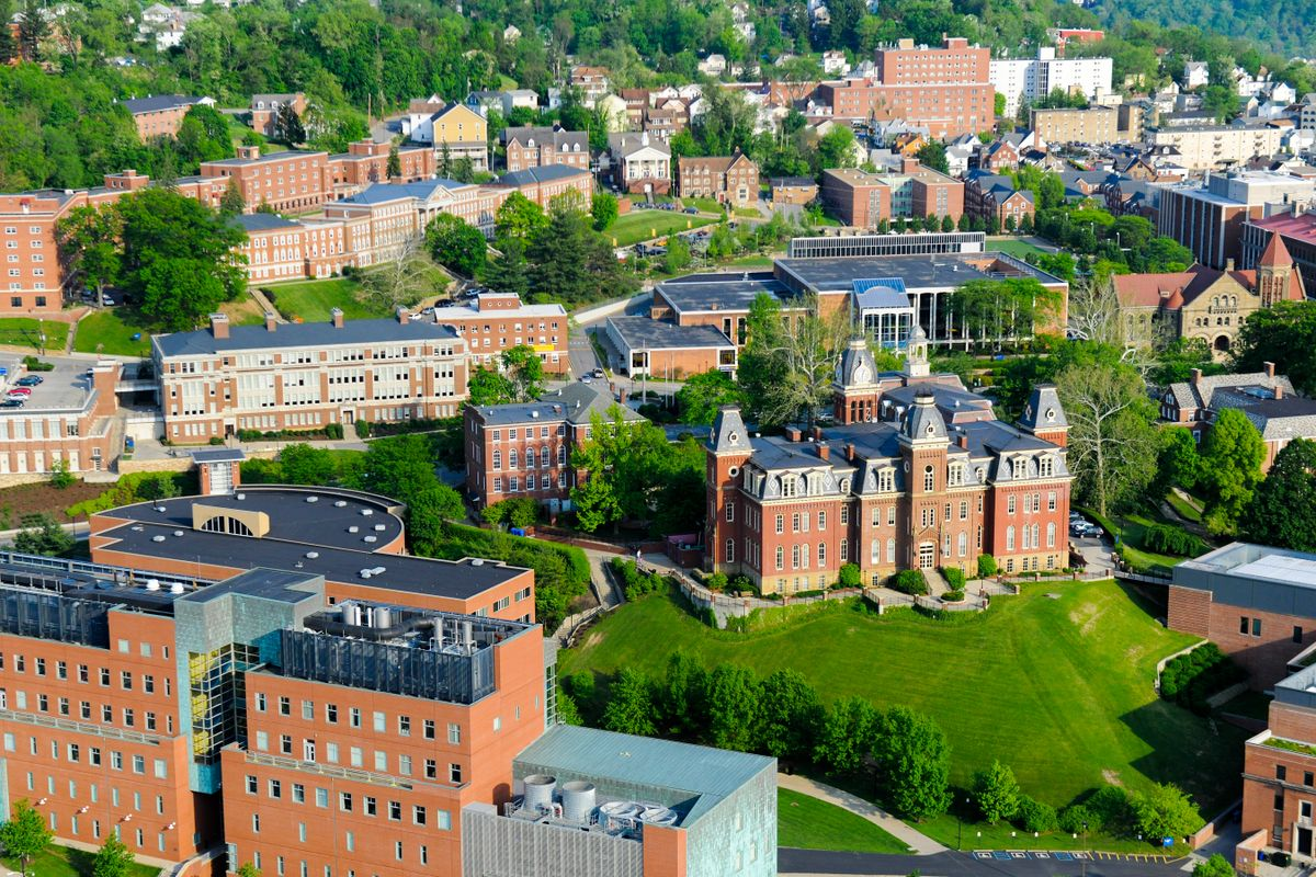 An aerial shot of WVU's downtown campus