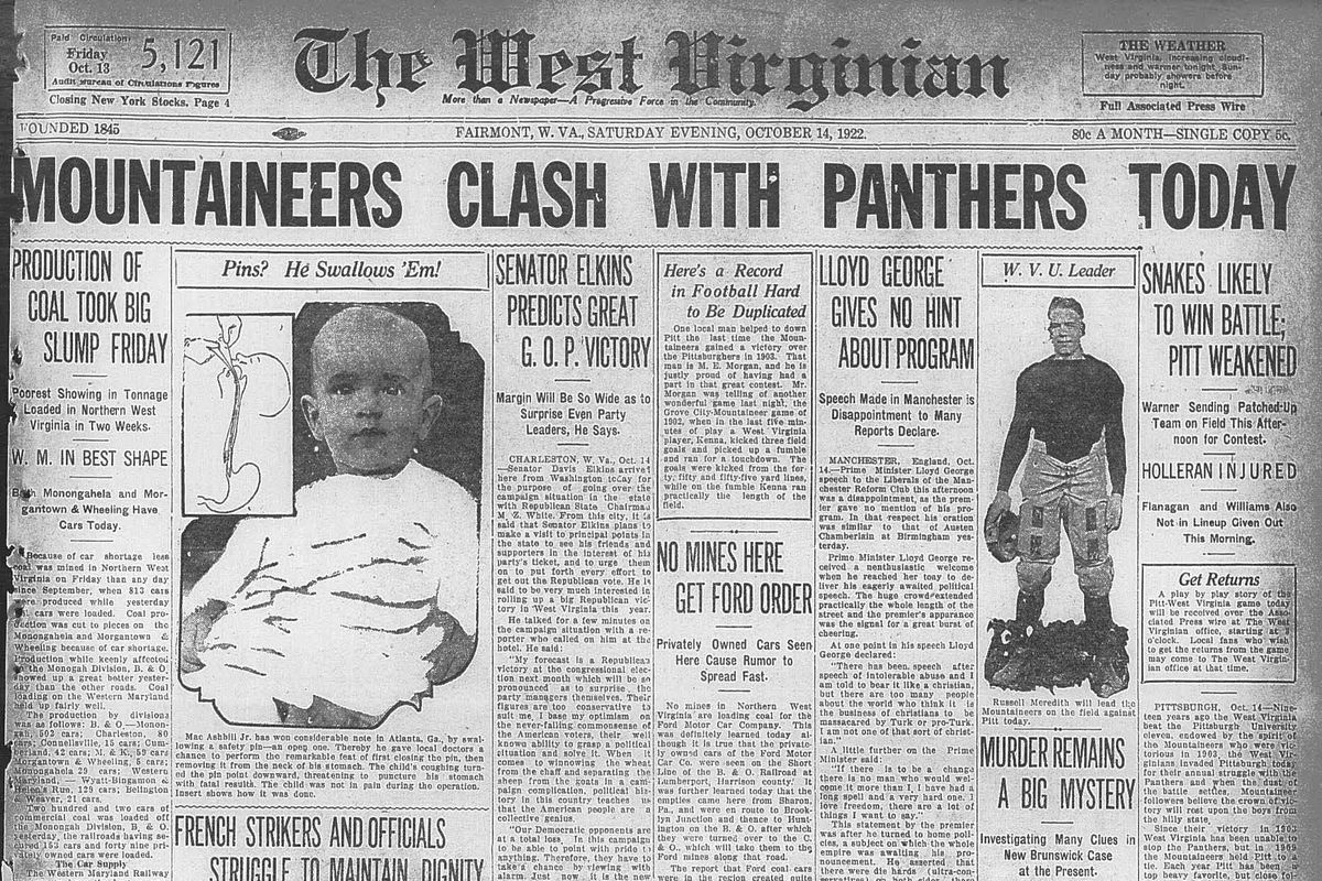 Front page of the West Virginian, Oct. 14, 1922. Headline reads