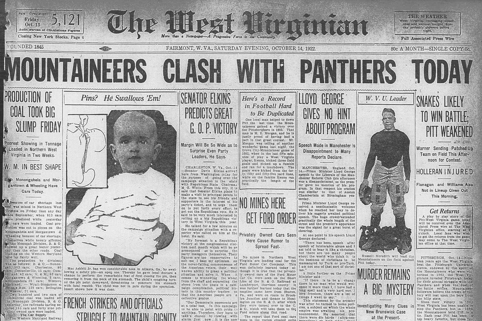 """Front page of the West Virginian, Oct. 14, 1922. Headline reads """"Mountaineers clash with panthers today""""."""