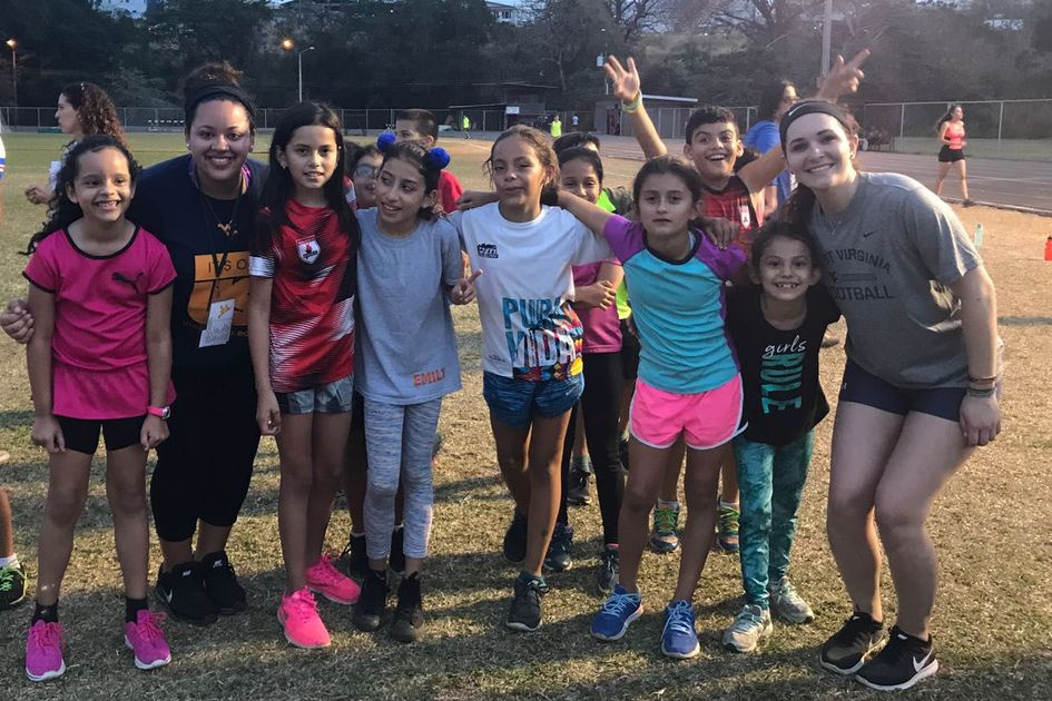 WVU students with a kids soccer team in Costa Rica