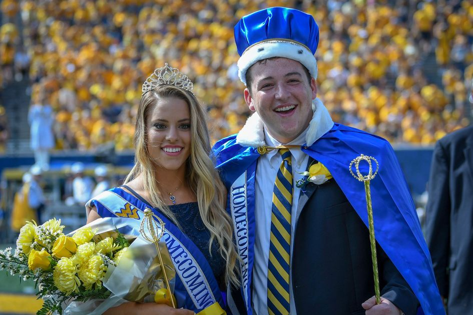 A week of Homecoming activities at West Virginia University culminated with the crowning of Douglas Ernest, Jr. (right) and Kendra Lobban (left), as the 2018 king and queen.