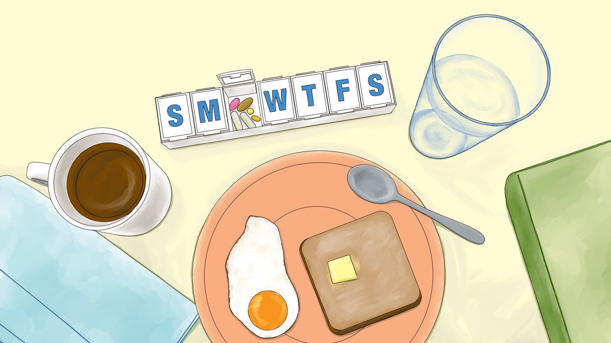 Illustration of pill organizer with coffee, water, eggs and toast