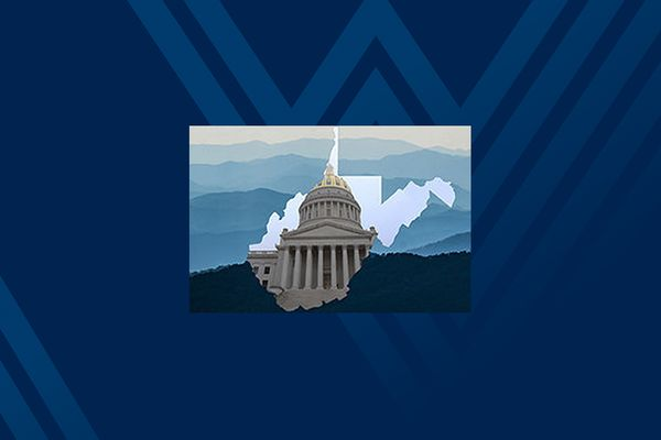Graphic image of West Virginia Capitol Building inside the state outline against a backdrop of mountains.