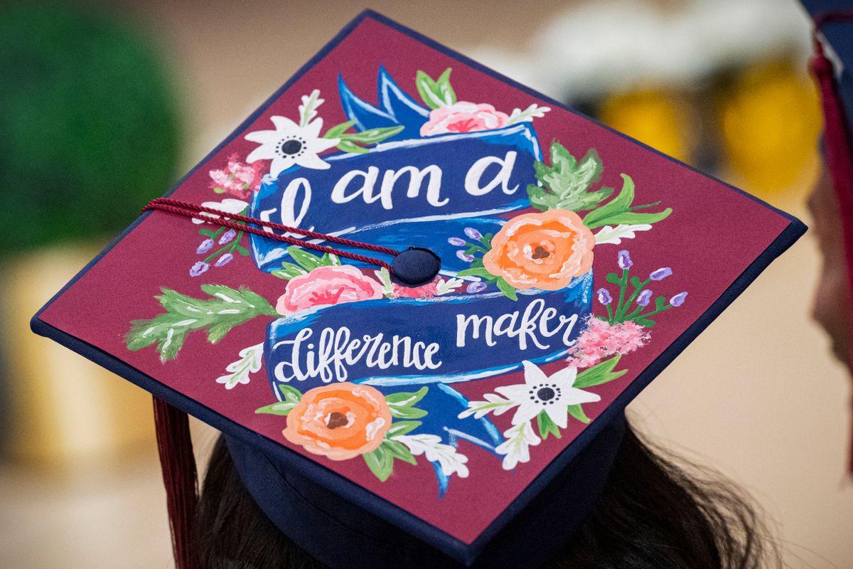 Graduation cap that says