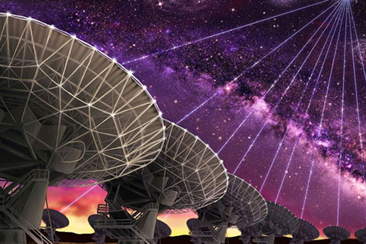Jansky VLA — The dishes of the Karl G. Jansky Very Large Array in New Mexico are seen making the first precision localization of a fast radio burst, and thereby pointing the way to the host galaxy of FRB121102. Credit: Danielle Futselaar (www.artsource.nl)