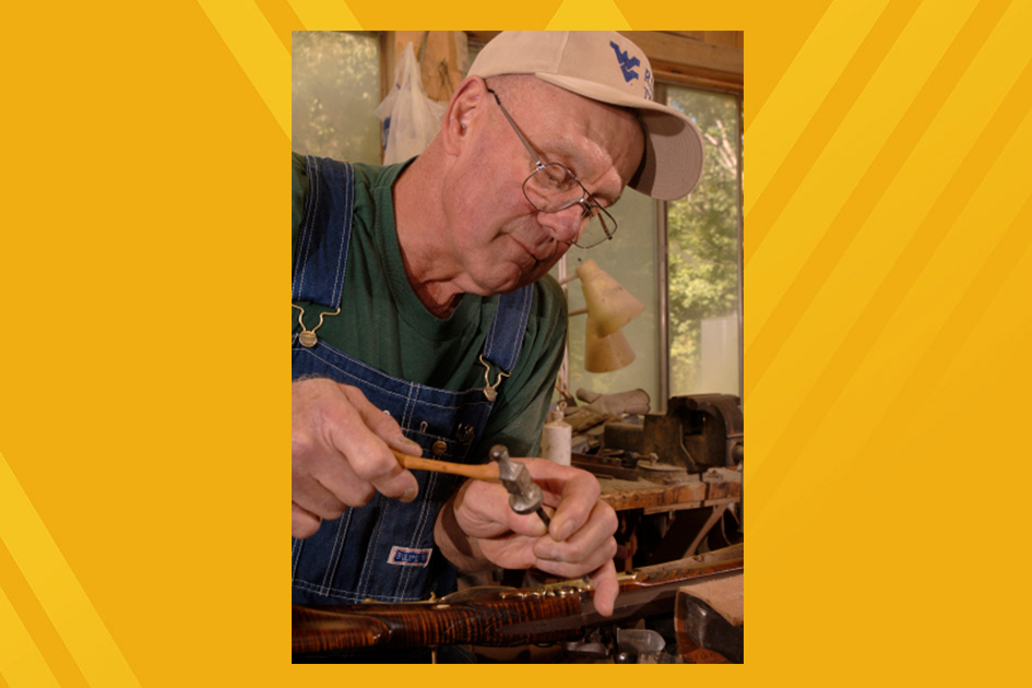 Marvin Wotring working on a musket.