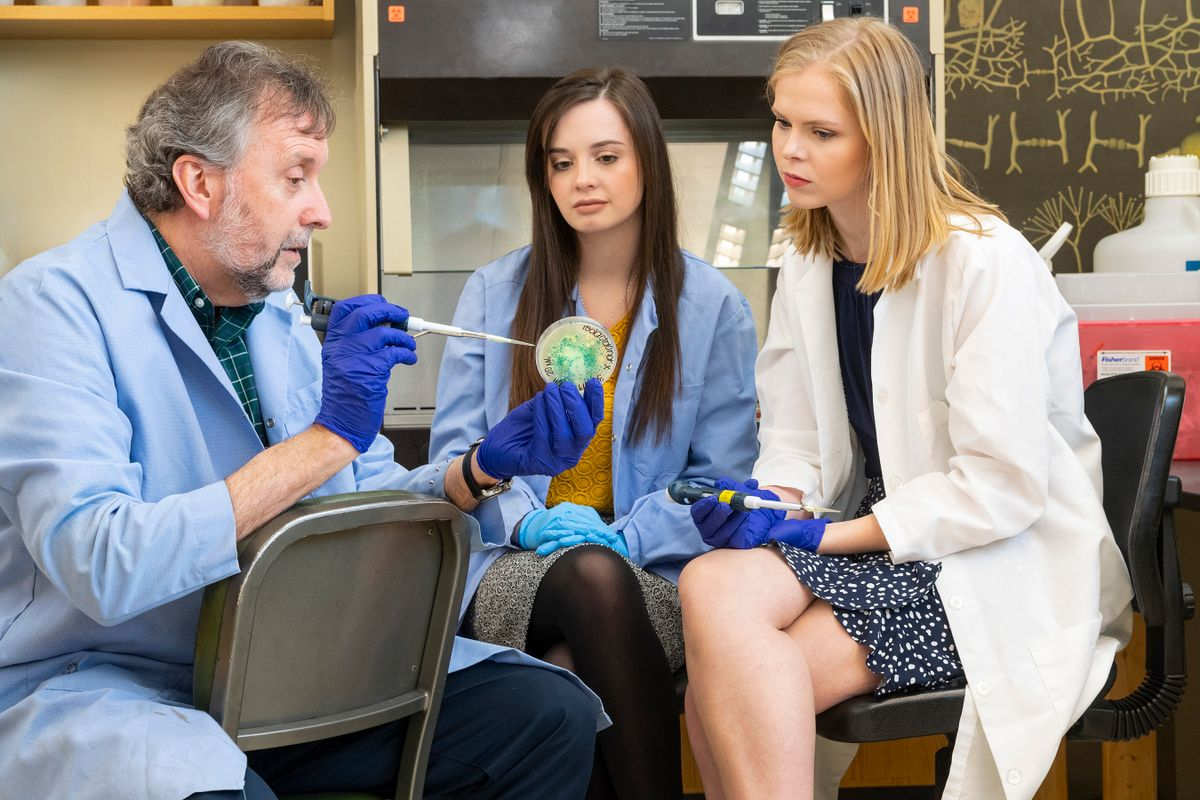 a man with a beard in a blue lab coat shows a petrie dish to two young women in lab coats