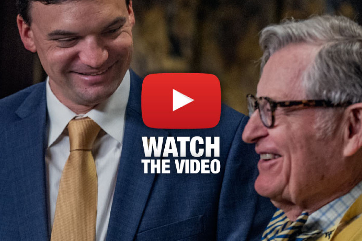 Gordon Gee with Coach Neal Brown.