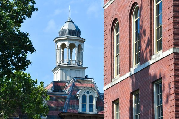 Red brick building with a tower on top
