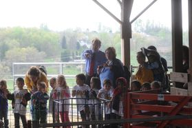 Touring the barns during Kiddie Days