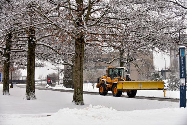 snow plow on campus