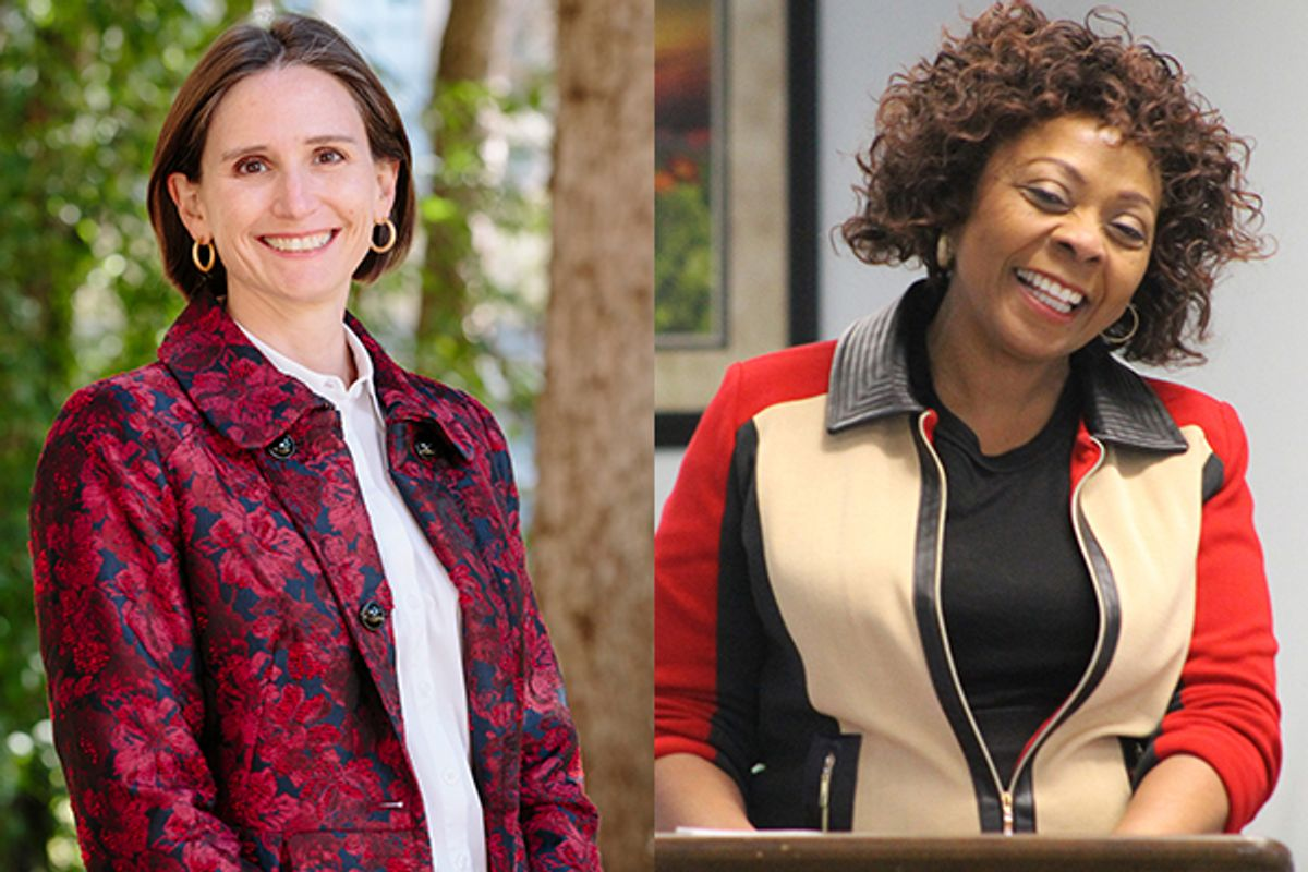 Side-by-side pictures of two women smiling. The one on the left is wearing a fuchsia blazer and the one to the right is wearing a tan, red and black zip-up blazer