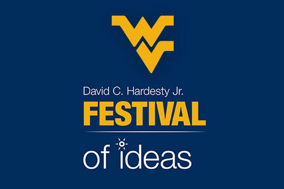 Festival of Ideas graphic. On blue background Flying WV (gold) David C. Hardesty, Jr. (white) FESTIVAL (gold) of ideas (white)