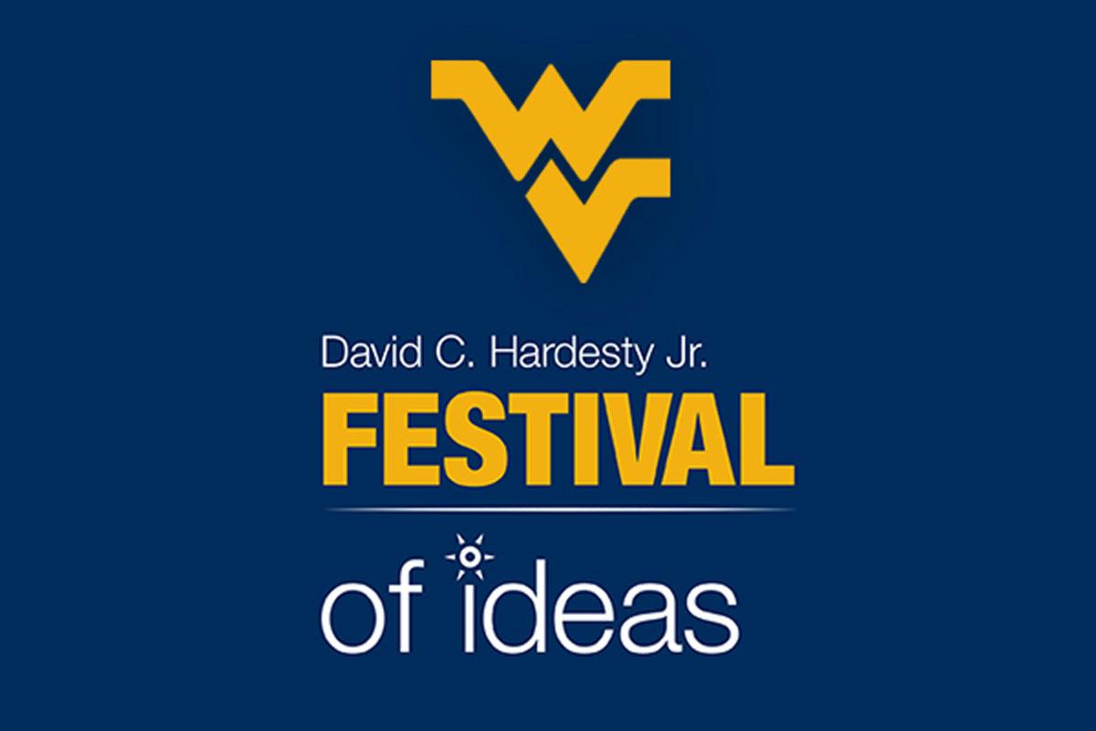 Festival of Ideas graphic. On blue background: Flying WV (gold) David C. Hardesty, Jr. (white) FESTIVAL (gold) of ideas (white)