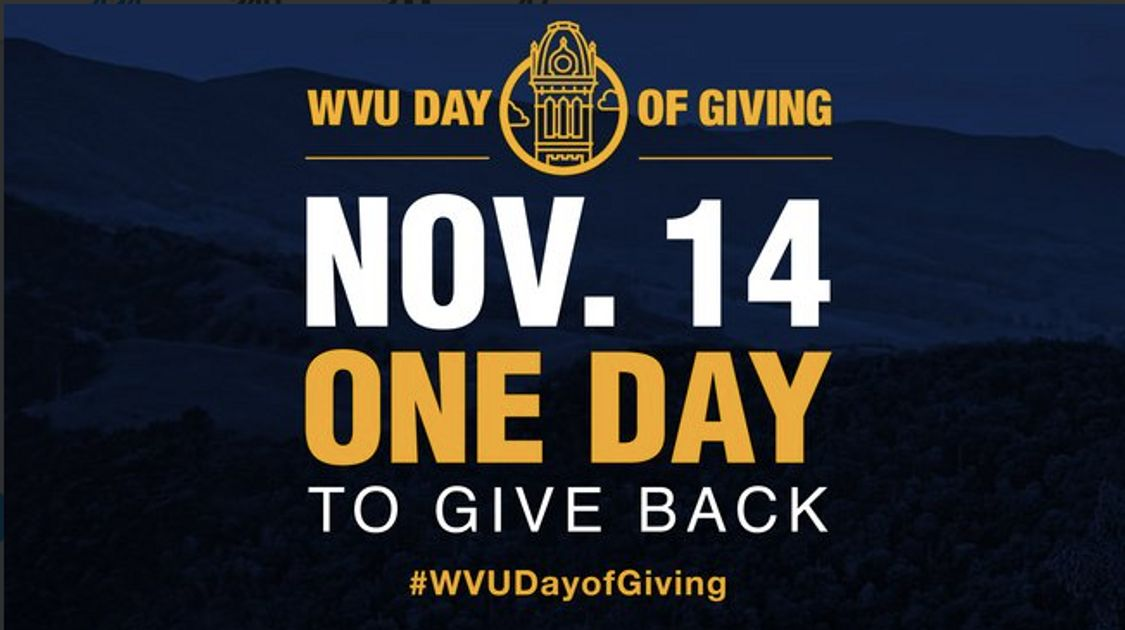 Graphic explaining the WVU Day of Giving with gold and white words on blue background