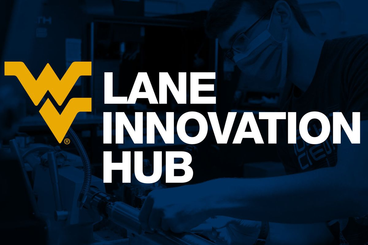 White text on a blue background that reads: Lane Innovation Hub