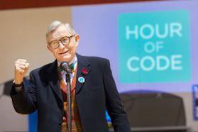 WVU President E Gordon Gee encourages student to learn coding at the Hour of CODE event at  Mylan Park Elementary School Morgantown WV December 8, 2017.