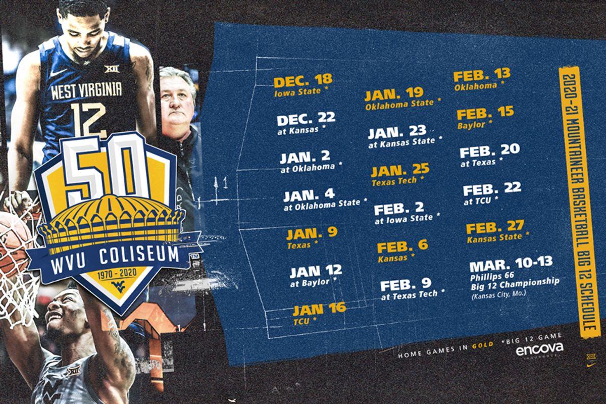 WVU basketball schedule graphic