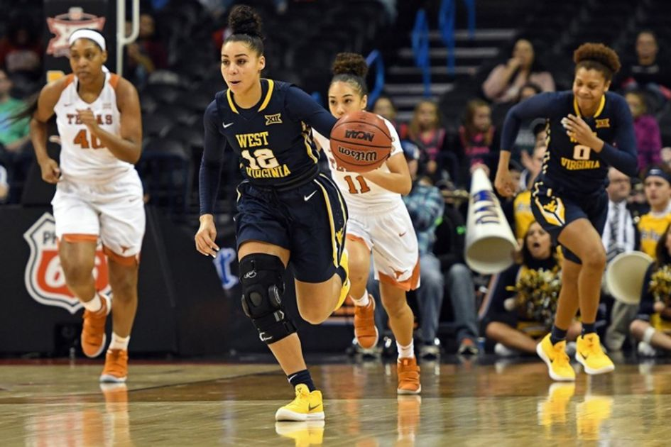 WVU women's basketball player dribbles the ball down the court