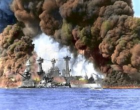 USS West Virginia burns in Pearl Harbor
