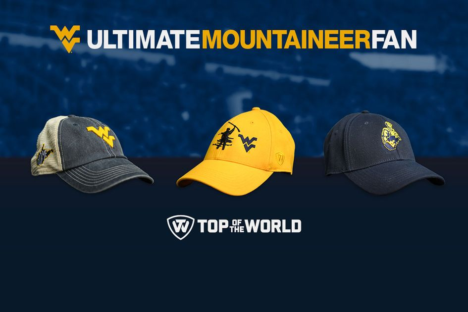 Ultimate Mountaineer Fan graphic - Three hats in a row (one with blue front, white back with gold WVU logo on front, one entirely gold with mountaineer mascot and WVU logo on front, and a third entirely navy blue with moutinaeer mascot, West Virginia state outline, and WVU logo on the front) with the Top World logo underneath.