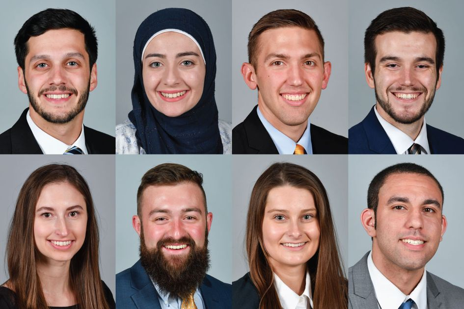 Portrait photos of Daniel Berrebi, Sara Berzingi, Garrett Burgess, Tanner Filben, Anna Gilpin, Trevor Kiess, Savannah Lusk and Grant Robertson