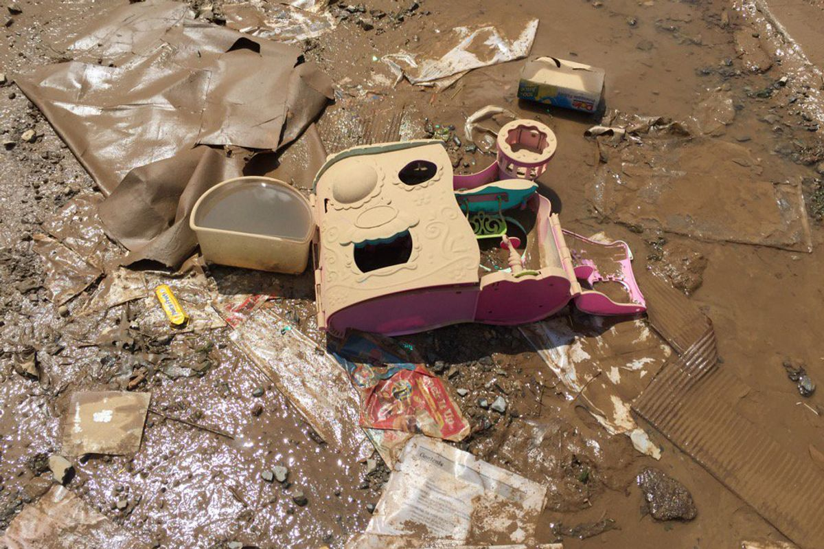 toys in layers of mud