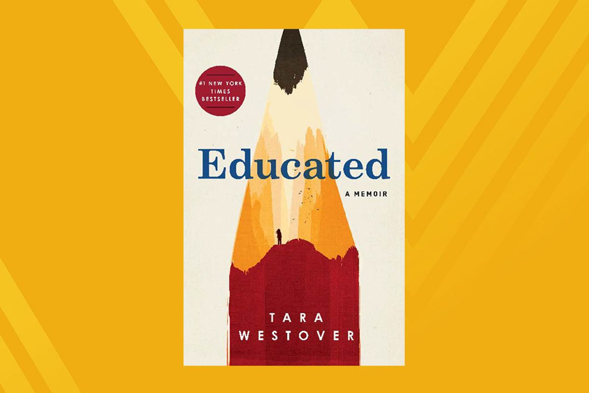 photo of the book cover for Educated on gold background