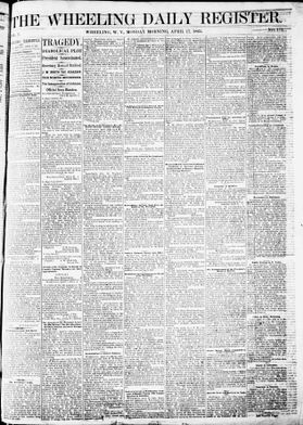 Page from The Wheeling Daily Register, Monday, April 17, 1865.