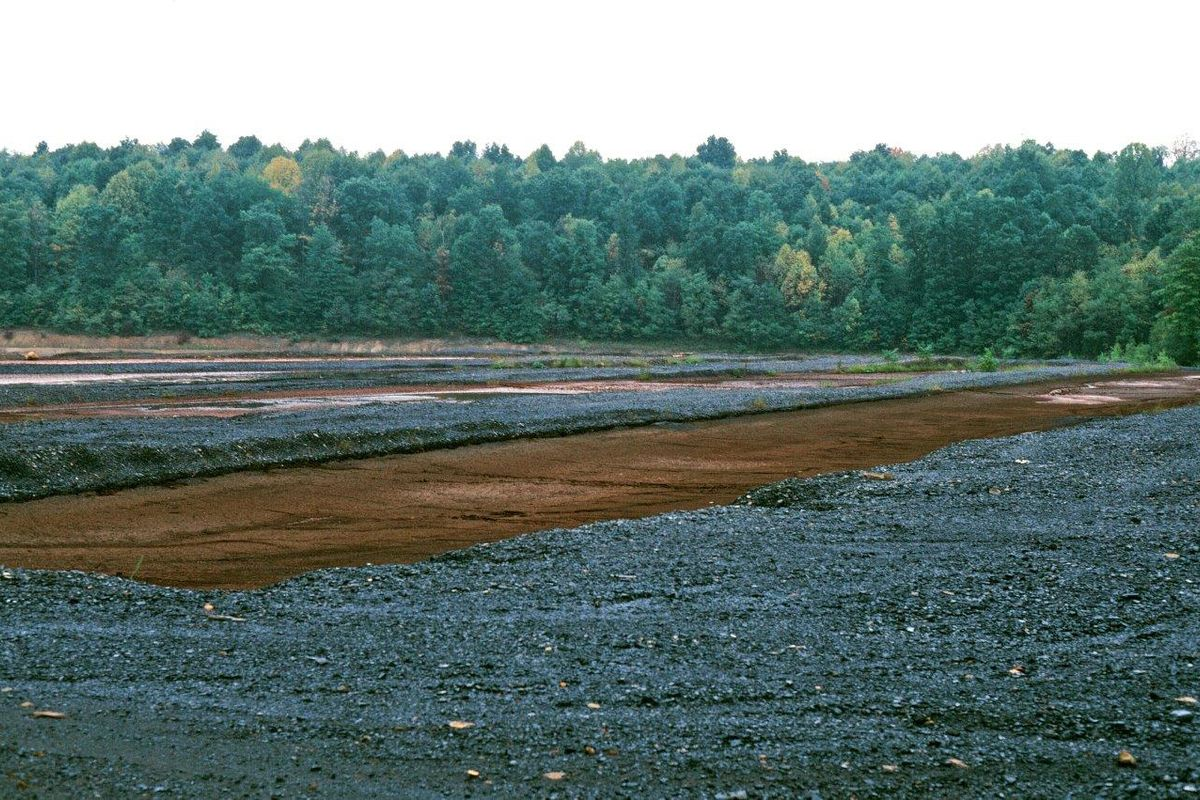 Acid mine drainage sludge drying cells at a mine in Upshur County, West Virginia.