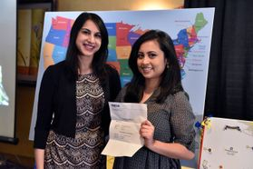 WVU School of Medicine class of 2017 student, Mowree Choudhury (right), is excited about her residency match in internal medicine at Virginia Commonwealth University
