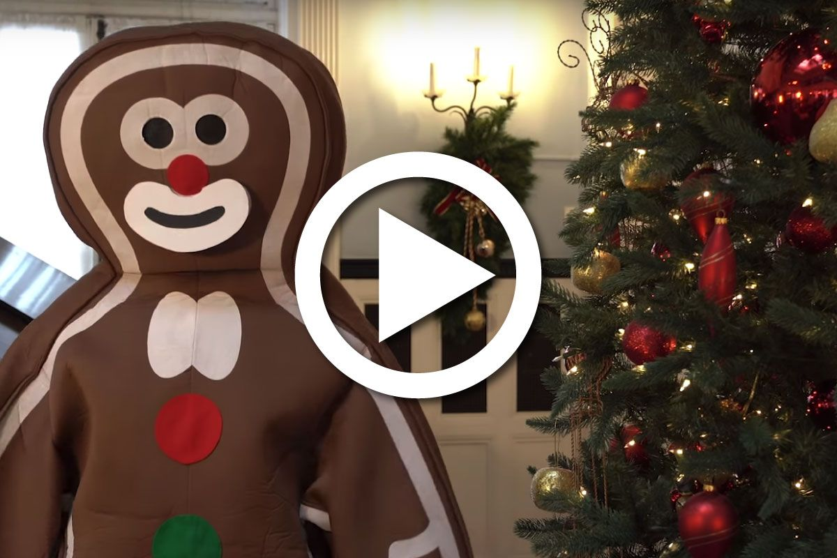 A gingerbread man in front of a Christmas tree.
