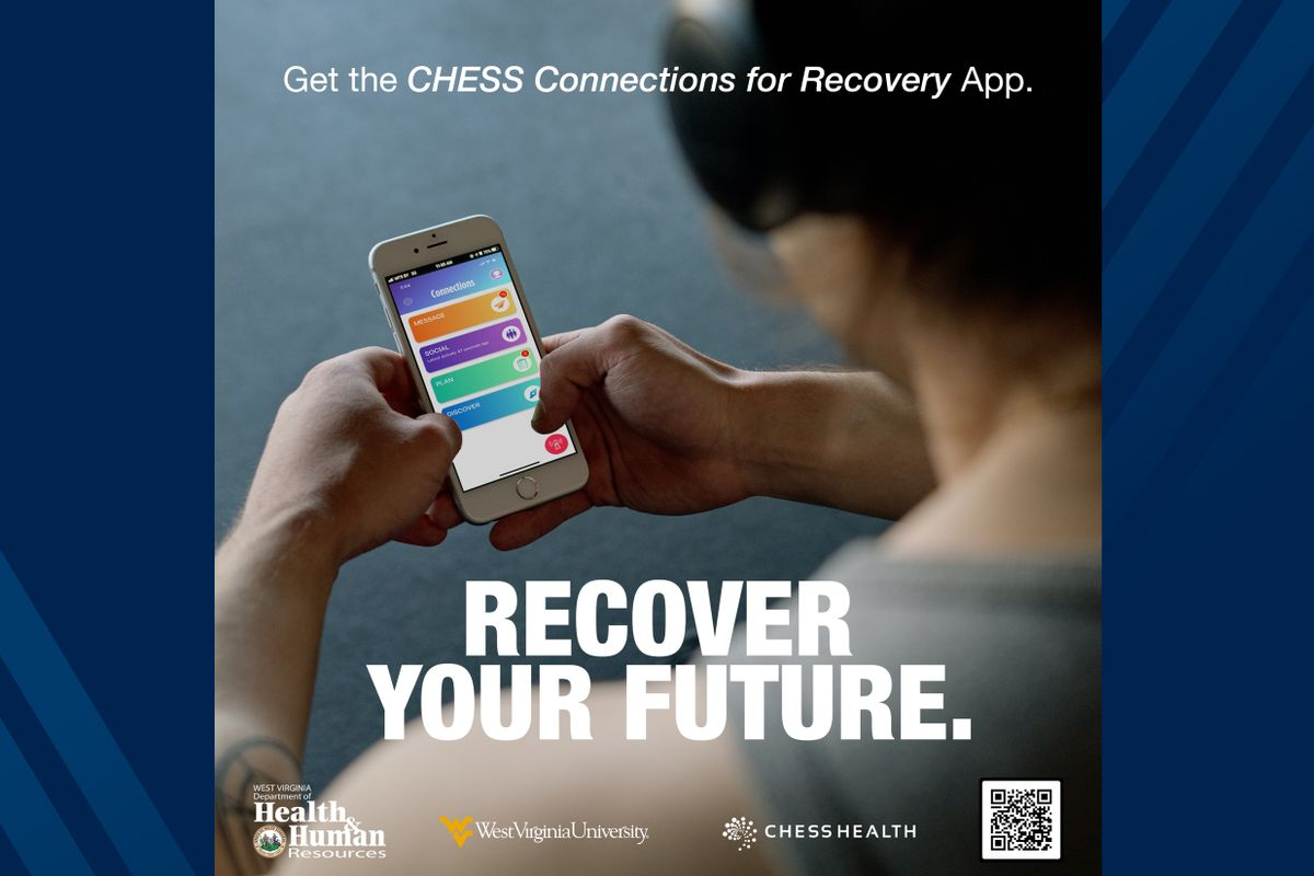 Poster for CHESS Health's Addiction Management Platform, a smartphone app for people dealing with substance abuse disorder