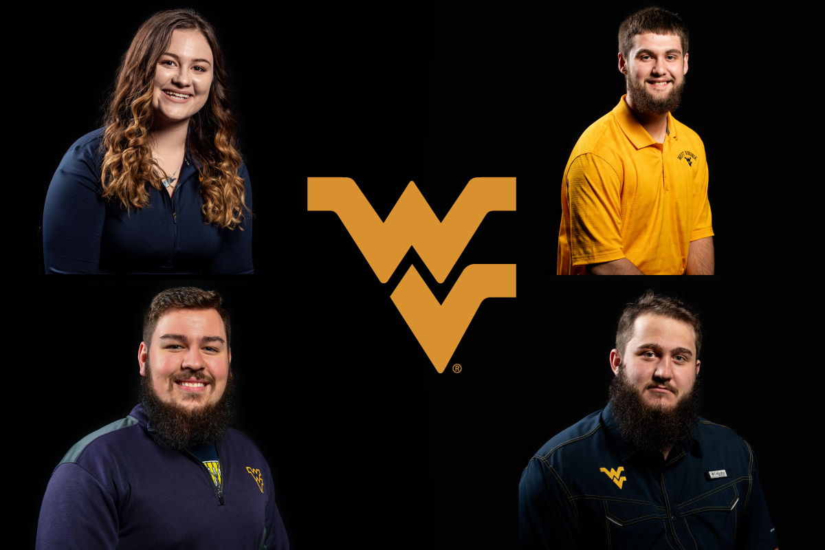 Composite photo of a young woman with long hair and three young men who have dark hair and beards. The flying WV is in the center of the composite.