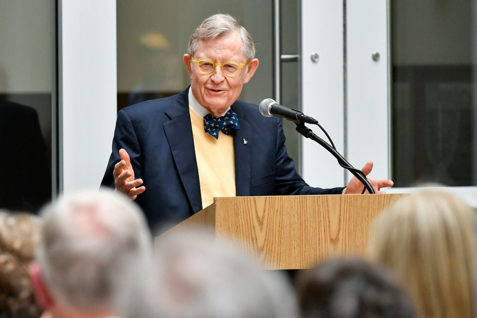 President Gee speaks at the opening of the Distinguished West Virginians Archives