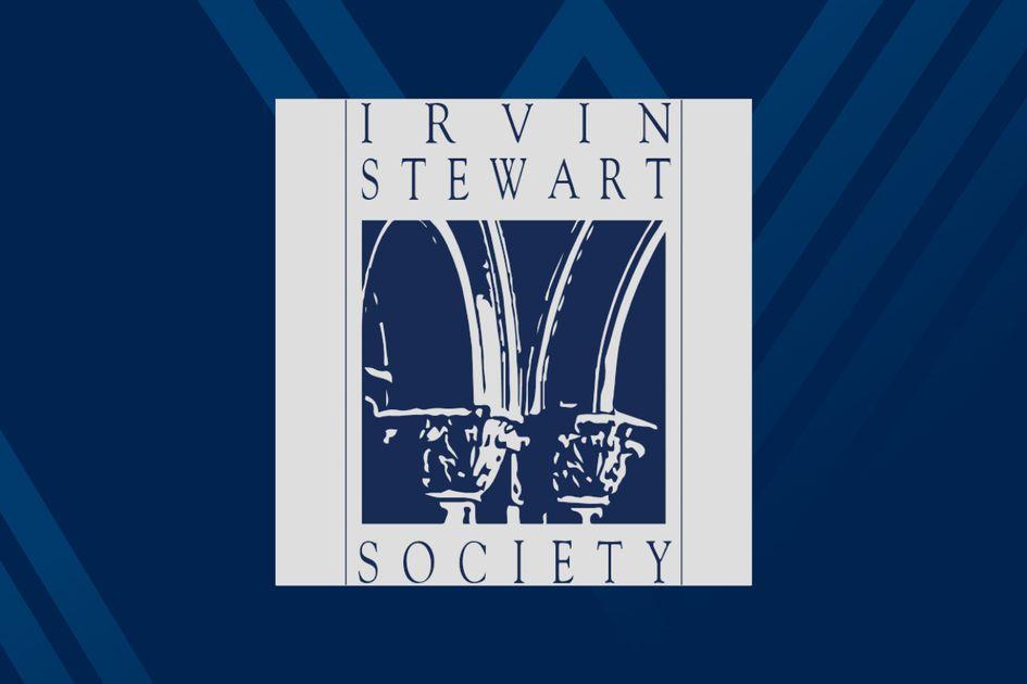 Irvin Stewart Society logo on blue background