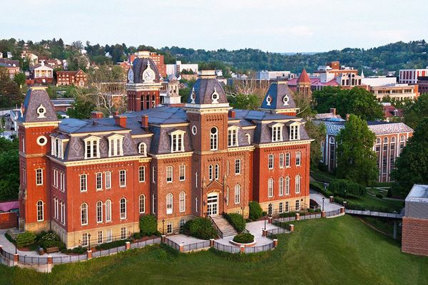 Photo of the WVU downtown campus with Woodburn at the center.