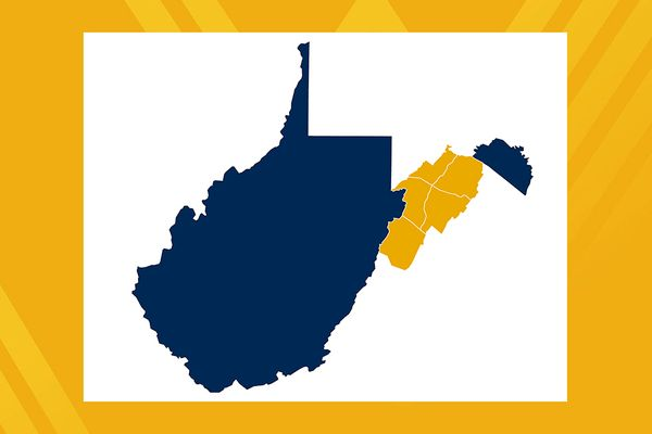 Graphic of West Virginia in dark blue with counties in the Potomac Highlands outlined in gold on white, gold backgrounds