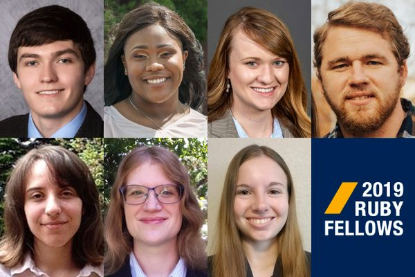 composite of seven people, wordmark for WVU 2019 Ruby Fellows