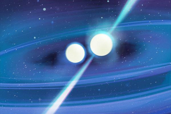 illustration of binary pulsar system