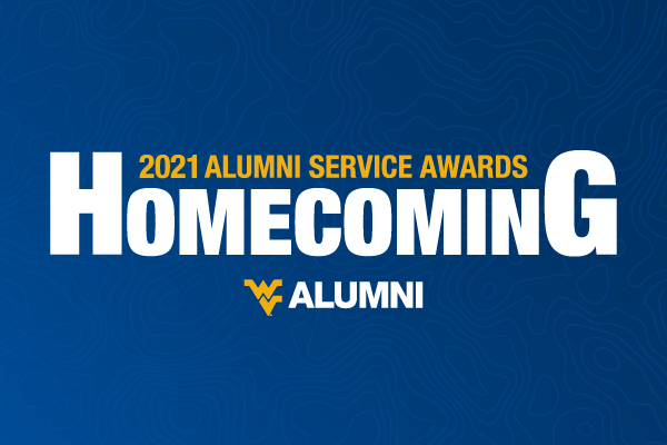 """Text that reads, """"2021 Alumni service awards, Homecoming"""" on a blue background"""
