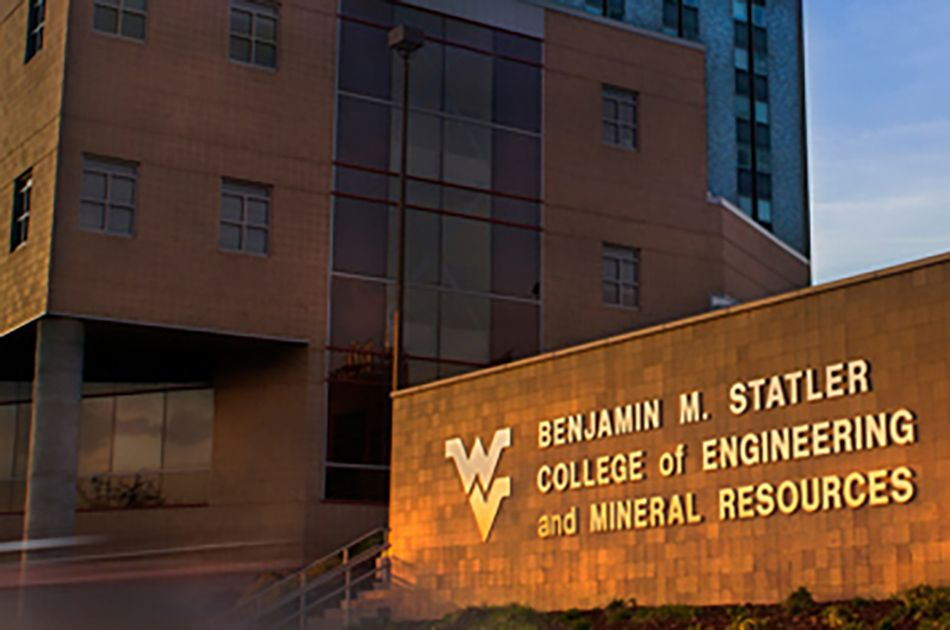 Photo of the Statler College name in front of building