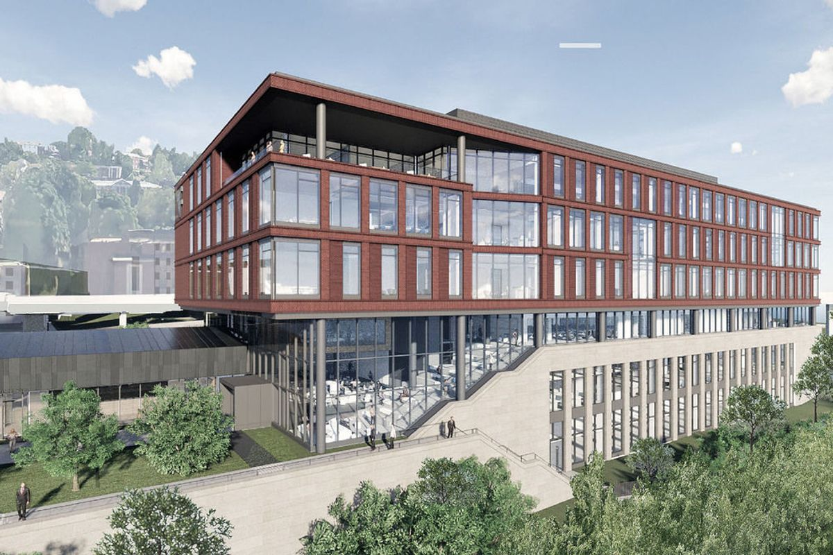 rendering of large building with many windows