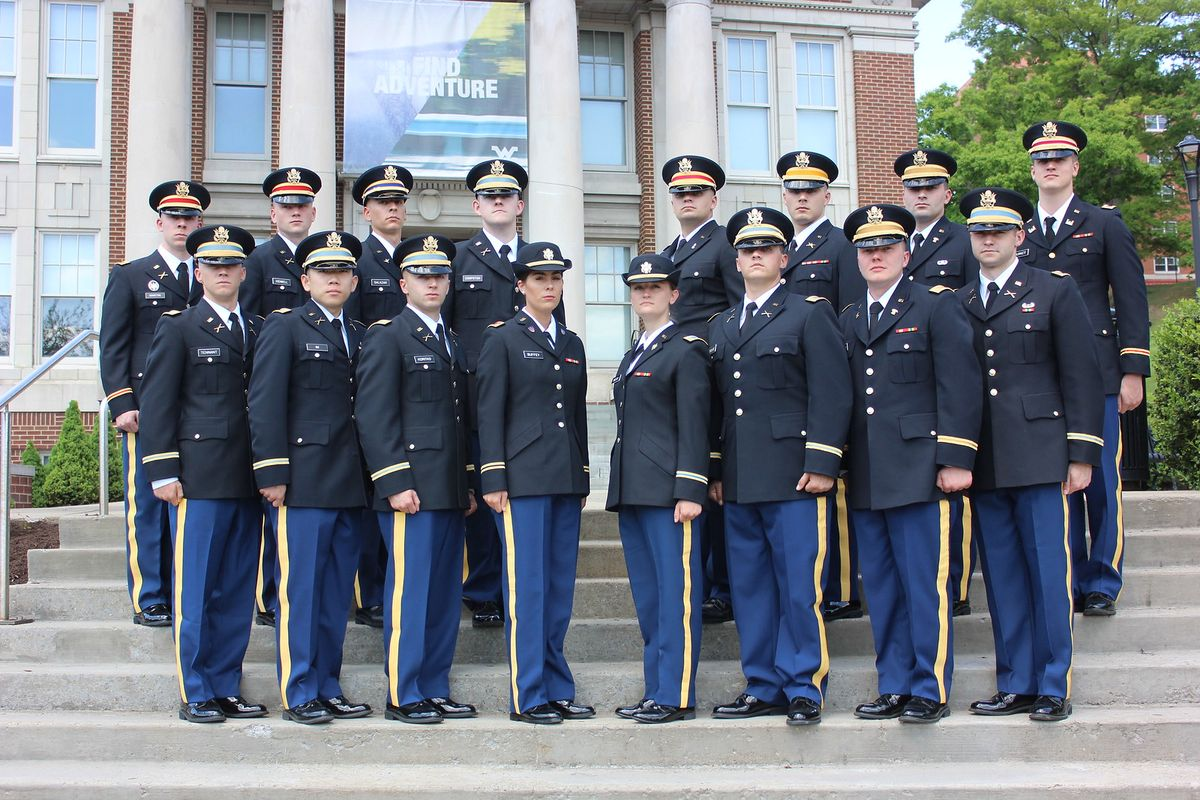 WVU Army ROTC cadets standing in uniform outside a building