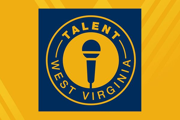 graphic for talent WV on gold background