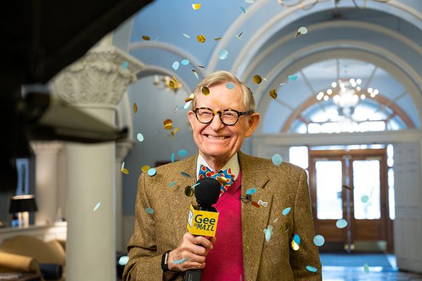 President Gee with confetti