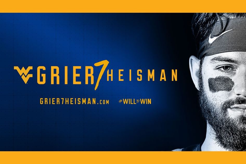 Black and white photo of Will Grier's face next to the words