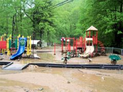 Playground equipment after a flood.