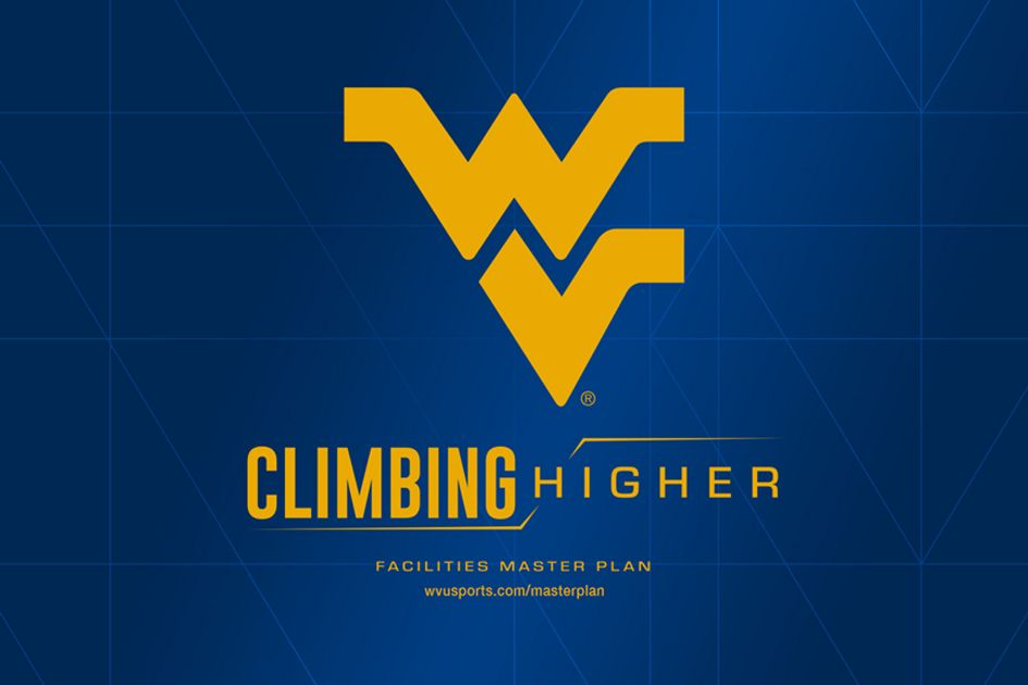 Flying WV gold logo on blue background with the words climbing higher in the graphic