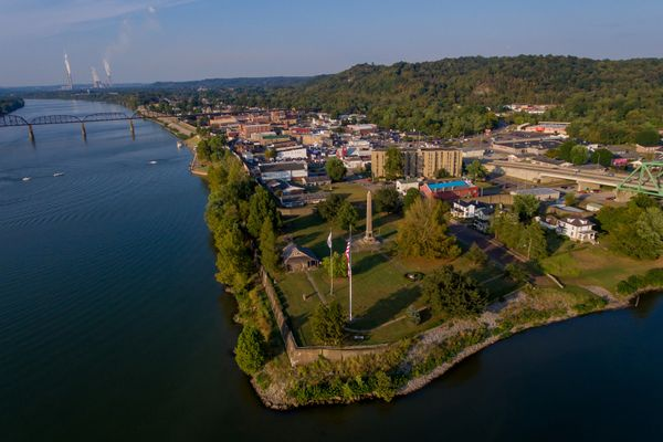 Overview of Point Pleasant, West Virginia with buildings, river, and bridges